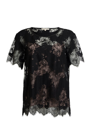 The Suzy Zig Zag Lace Tee in black.