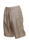 The Silk Twill Piping Shorts in birch; side view.