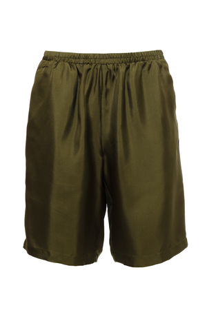 The Silk Twill Piping Shorts in olive.