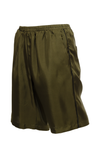 The Silk Twill Piping Shorts in olive; side view.