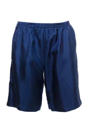 The Silk Twill Piping Shorts in navy.