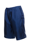 The Silk Twill Piping Shorts in navy; side view.