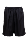 The Silk Twill Piping Shorts in black.