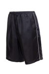 The Silk Twill Piping Shorts in black; side view.