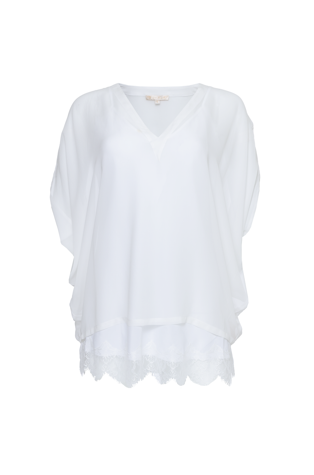 The Silk Lace Georgette Wedge Top in white.