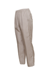 The Silk Twill Piping Pants in birch; side view.