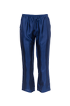 The Silk Twill Piping Pants in navy.