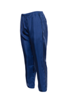 The Silk Twill Piping Pants in navy; side view.