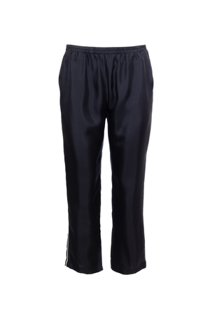The Silk Twill Piping Pants in black.