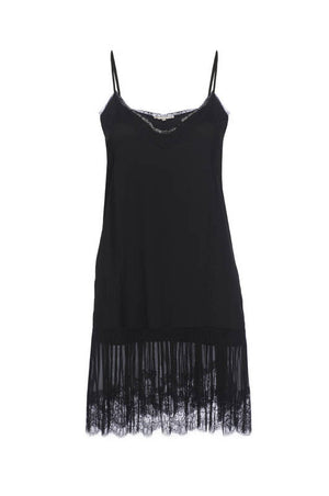 The Pleates Lace Silk Dress in black.