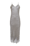 The Emma Silk Jacquard Slip Dress in steeple grey.