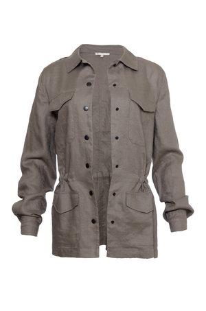 The Linen Army Jacket in grey.