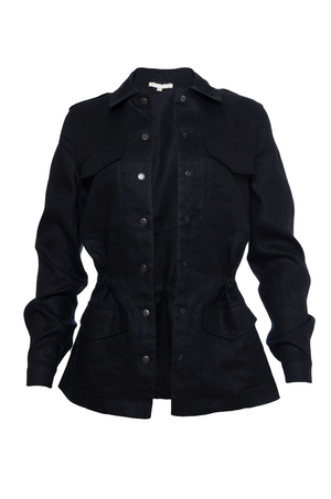The Linen Army Jacket in black.