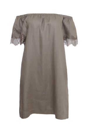 The Eva Off-Shoulder Dress in grey.