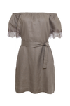 The Eva Off-Shoulder Dress in grey; shown here with matching sash used as belt.