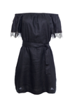 The Eva Off-Shoulder Dress in black; shown with matching sash used as a belt.