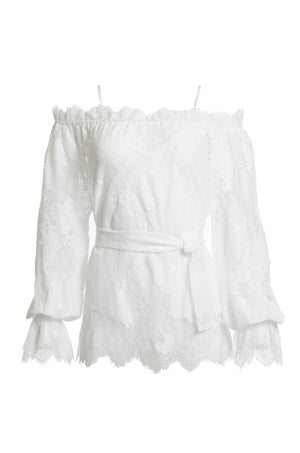 The Suzy Zig Zag Lace Belted Top in white.