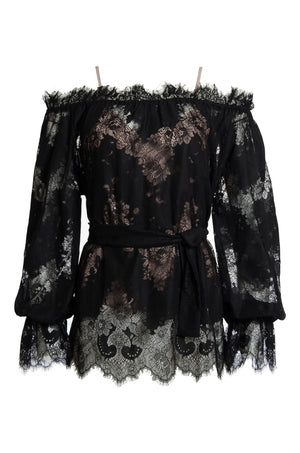 The Suzy Zig Zag Lace Belted Top in black.
