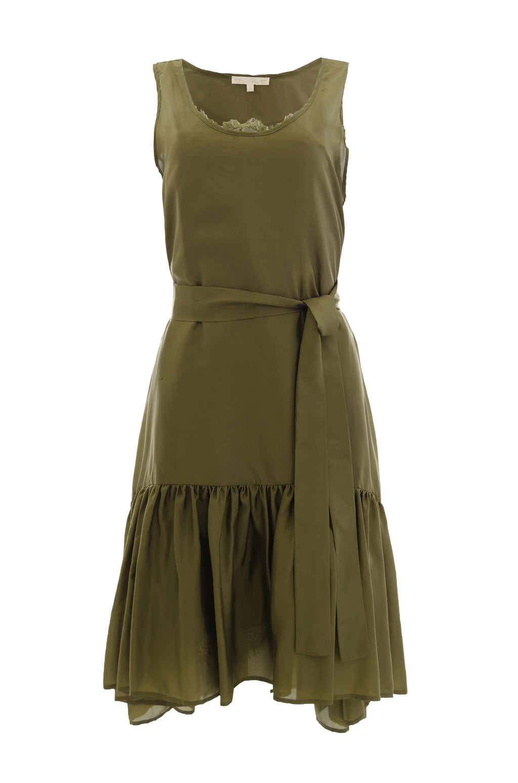 The Habotai Silk Tank Dress in olive. Worn with matching sash as belt.