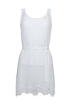 The Sheer Silk Tank Top in white; shown with matching sash worn as belt.