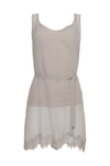 The Sheer Silk Tank Top in birch; shown with matching sash worn as belt.