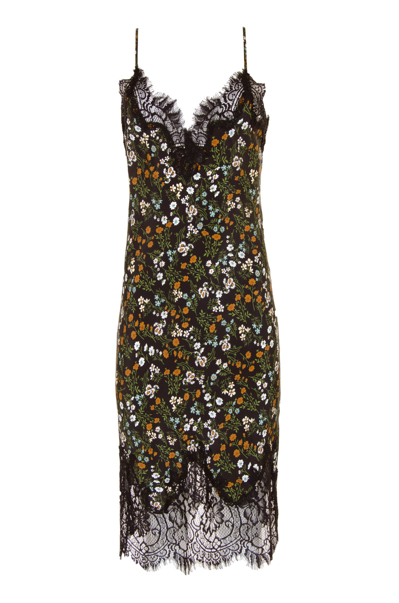 The Coco Print Silk Slip Dress in olive print.
