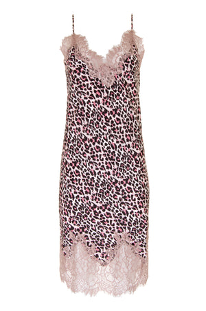 The Coco Print Silk Slip Dress in pink animal.