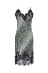 The Python Coco Print Silk Slip Dress in grey python.
