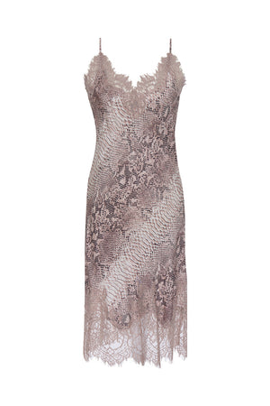 The Python Coco Print Silk Slip Dress in muted rose python.