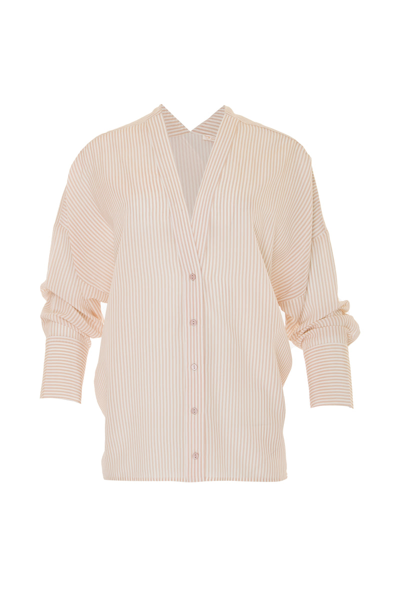 The Stripe Wedge Silk Shirt in nude.