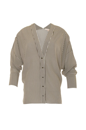 The Stripe Wedge Silk Shirt in olive.