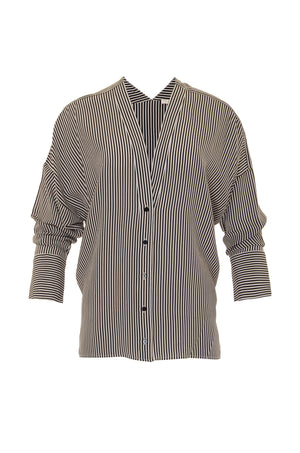 The Stripe Wedge Silk Shirt in black.