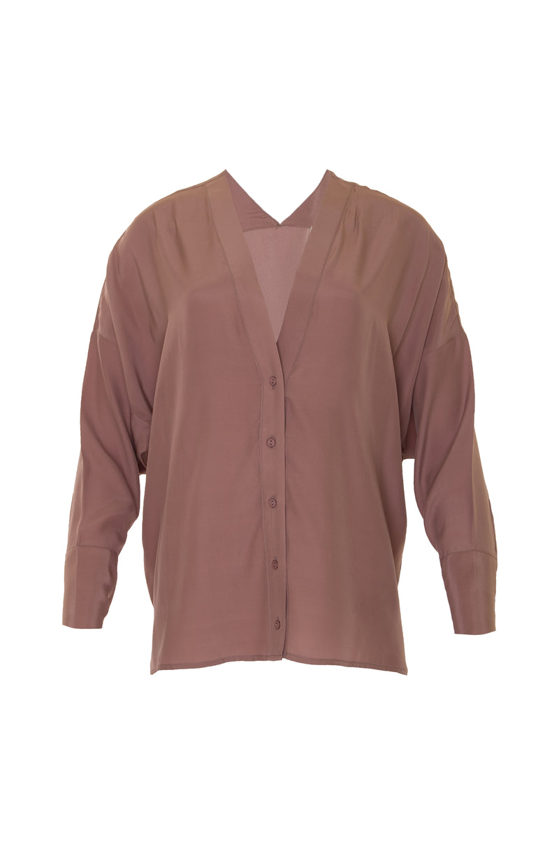 The Solid Silk Wedge Shirt in rose taupe.