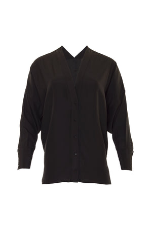 The Solid Silk Wedge Shirt in black.