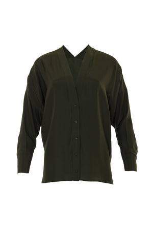 The Solid Silk Wedge Shirt in duffel green.