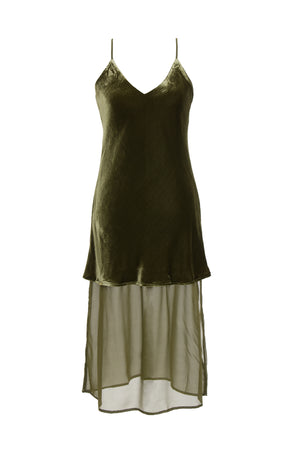 The Double Layer Velvet Silk Dress in olive.