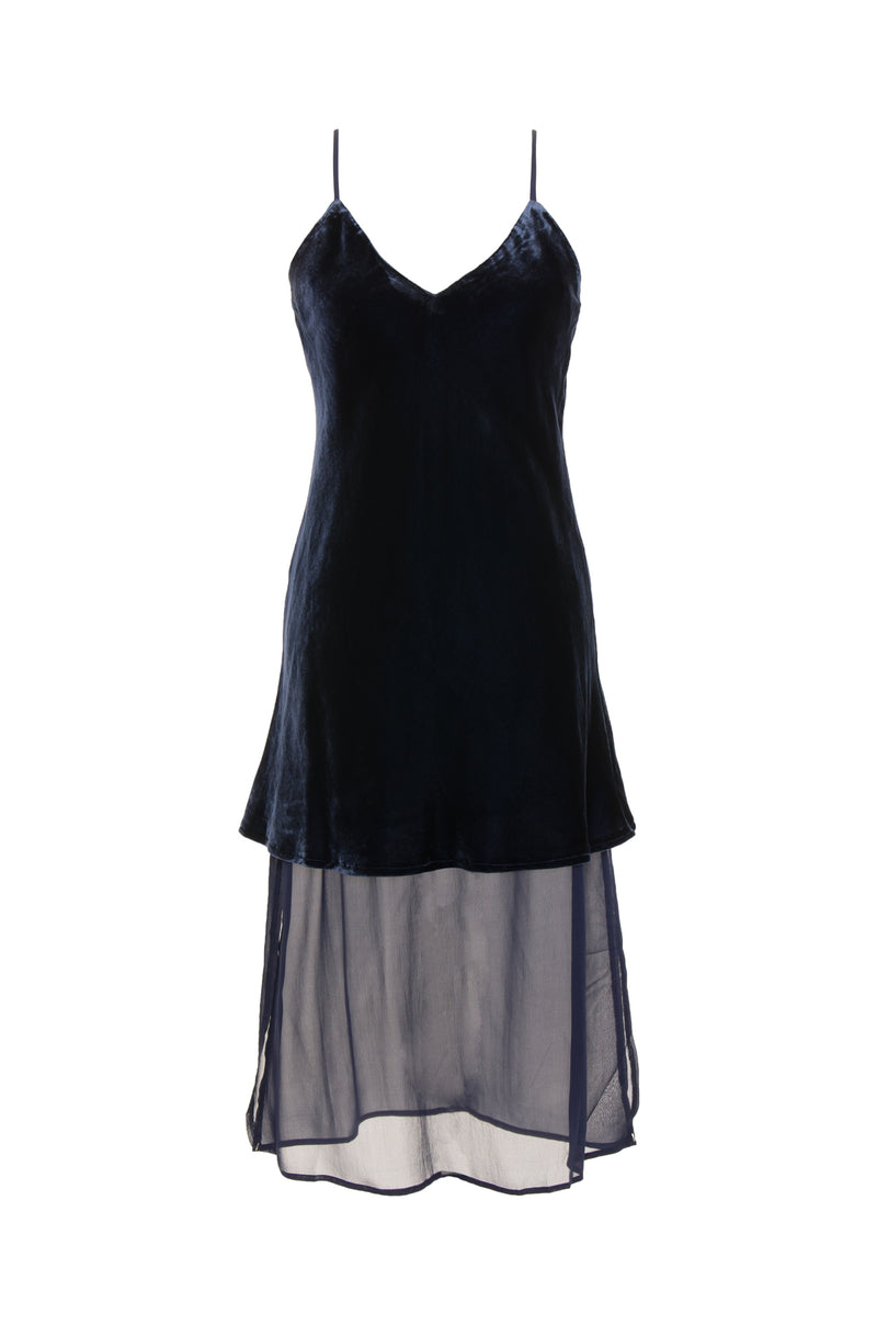The Double Layer Velvet Silk Dress in navy.