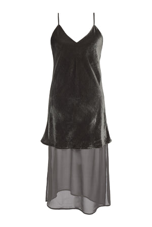 Double Layer Velvet Silk Dress