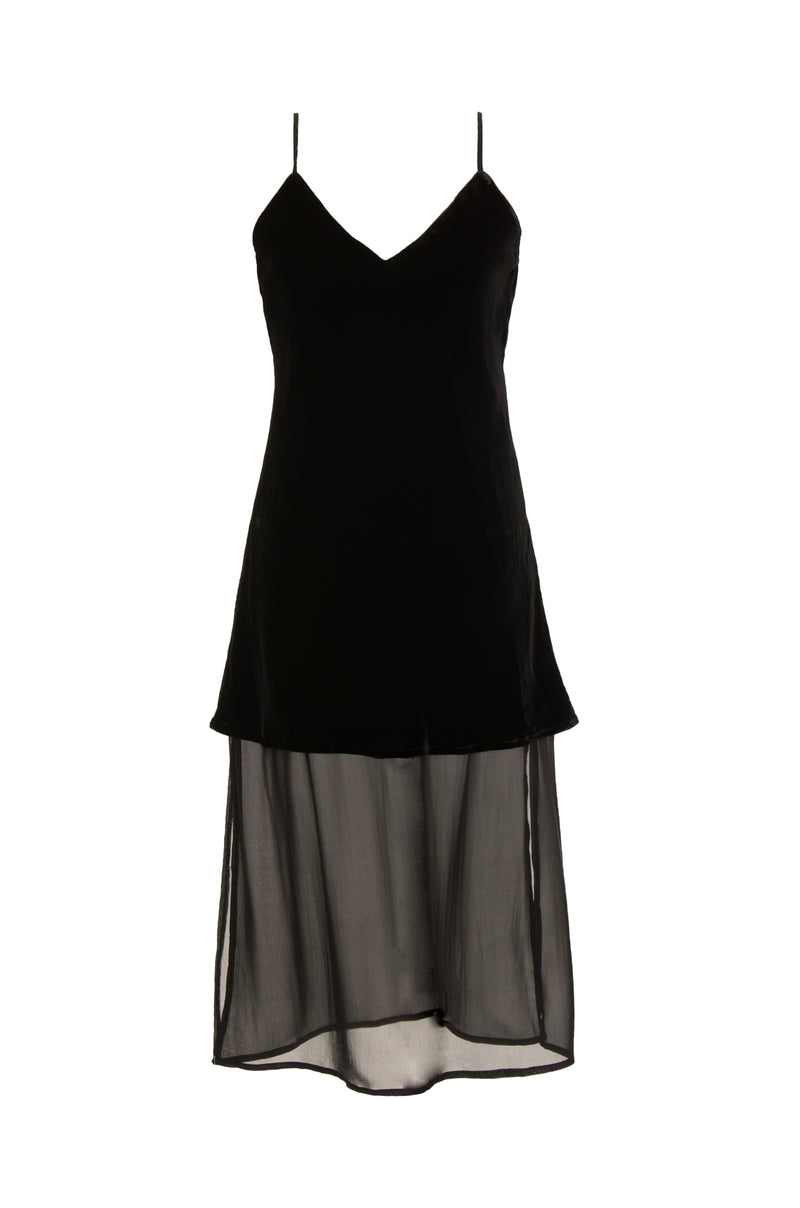 The Double Layer Velvet Silk Dress in black.