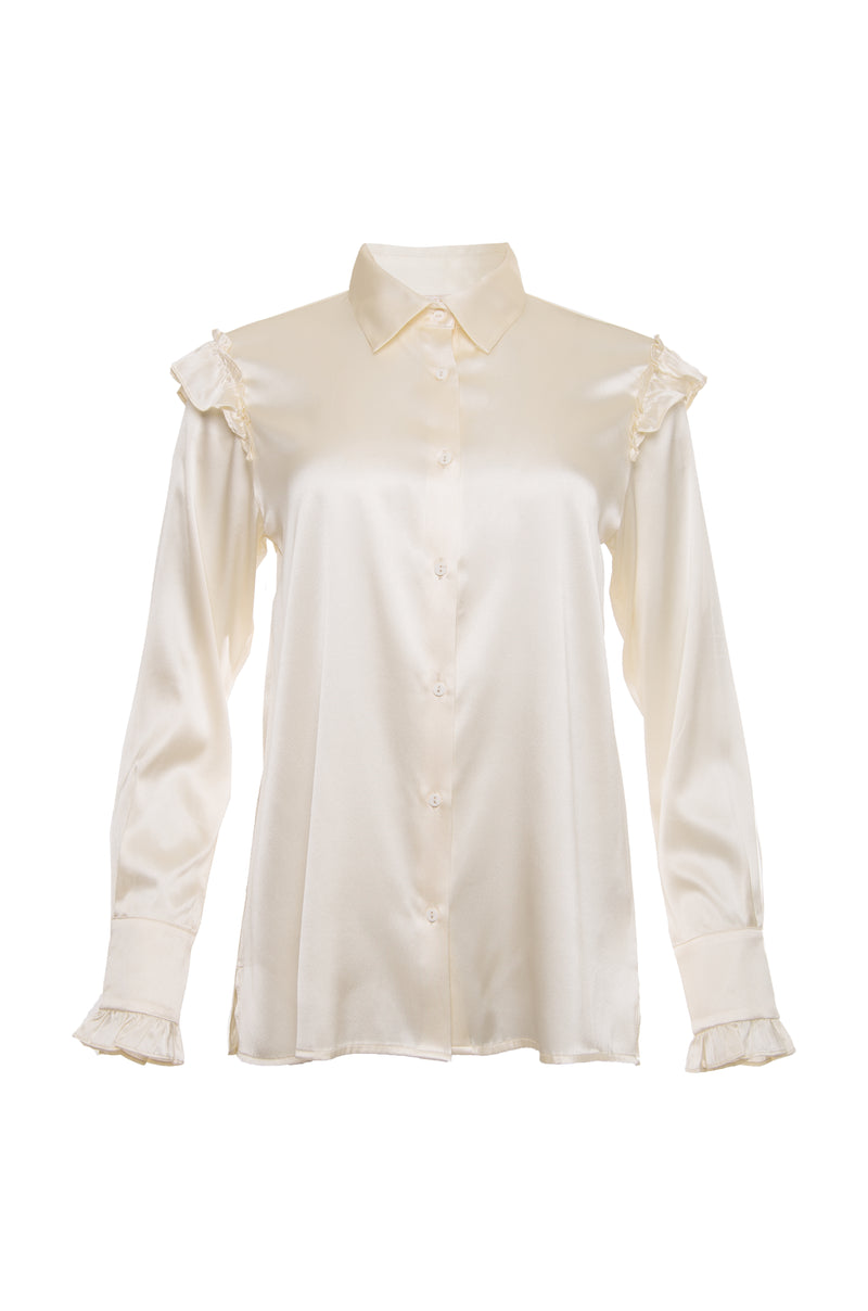The Charlotte Long Sleeve Silk Shirt in dove.