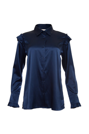 The Charlotte Long Sleeve Silk Shirt in navy.