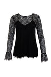 The Chantilly Lace Long Sleeve Top in black.