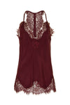 The Silk Lace Razorback Cami in burgundy.
