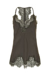 The Silk Lace Razorback Cami in pewter.