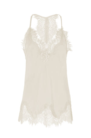 The Silk Lace Razorback Cami in dove.