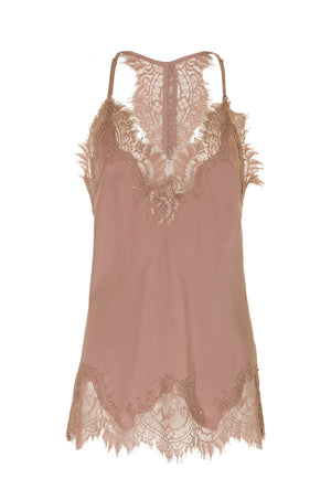 The Silk Lace Razorback Cami in rose taupe.