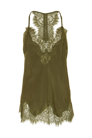 The Silk Lace Razorback Cami in olive.