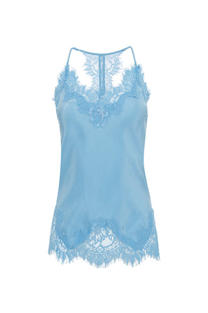 The Silk Lace Razorback Cami in baby blue.