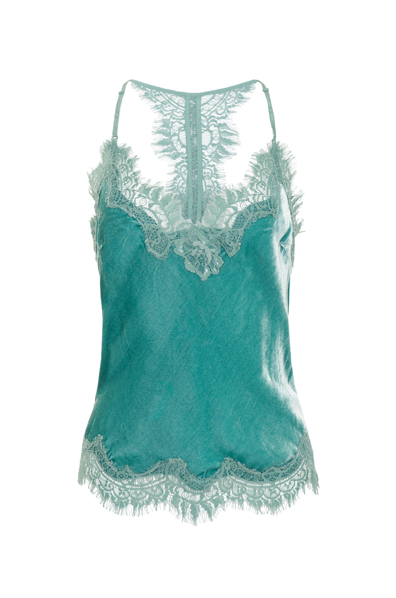 Velvet Cropped Lace Cami