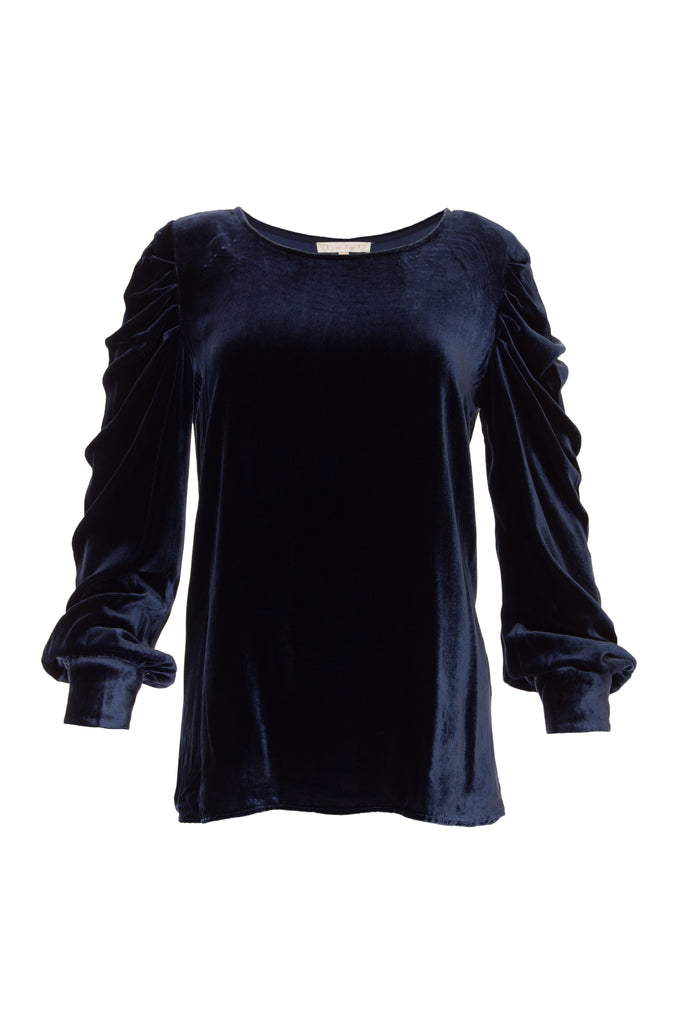 Dynasty Velvet Ruched Sleeve Top